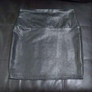 Faux leather black spandex mini skirt